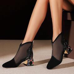 婦人向け PU チャンクヒール ポンプ かかと とともに ステッチレース ジッパー ジュエリーヒール 靴