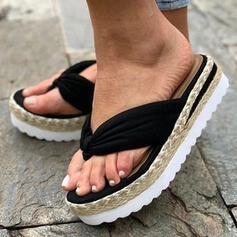 Kvinnor Duk Flat Heel Sandaler Plattform Flip Flops Tofflor med Solid färg skor
