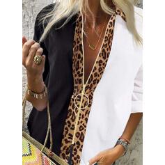 Barevný blok Nášivky leopard Klopa Dlouhé rukávy Neformální Košilové kalenky