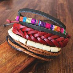 Fashionable Stylish Punk Leather Rope Unisex Bracelets (4 pieces)
