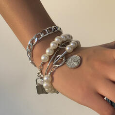 合金 模造真珠 とともに イミテーションパール 婦人向け レディース ' ブレスレット 4個