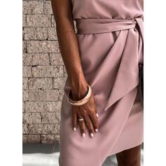 Pevný Bezrukávů Pouzdrové Nad kolena Elegantní Košilka Šaty