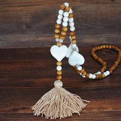 La modă Mărgele din lemn cu ciucuri Femei coliere