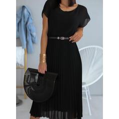 Jednolita Krótkie rękawy W kształcie litery A Casual Midi Sukienki