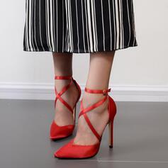 Dla kobiet Skóra ekologiczna Obcas Stiletto Sandały Czólenka Zakryte Palce Spiczasty palec u nogi Z Klamra Tkanina Wypalana Jednolity kolor obuwie