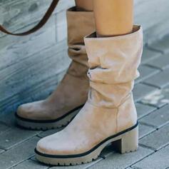 婦人向け スエード チャンクヒール ブーツ 冬用ブーツ とともに ソリッドカラー 靴