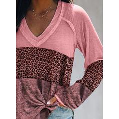 """Color Block Leopard Výstřih do """"V"""" Dlouhé rukávy Trička"""