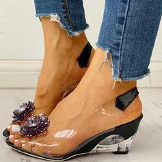 De mujer PU Tipo de tacón con Rhinestone Transparente zapatos