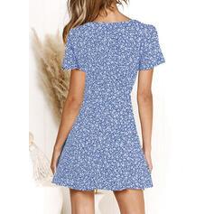 Print/Floral Short Sleeves A-line Above Knee Casual/Elegant Skater Dresses