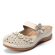 De mujer Cuero Tacón plano Sandalias Pantuflas con Agujereado Flor zapatos