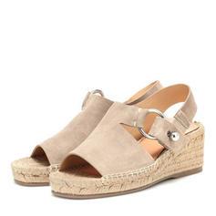 PU Kilklack Sandaler Kilar Peep Toe Klackar med Andra skor