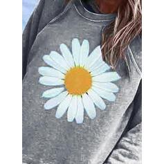 Wydrukować Kwiatowy Okrągły Dekolt Długie rękawy Bluza