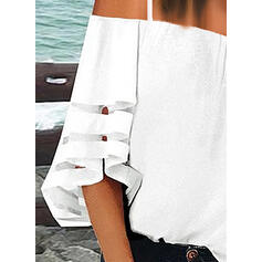 Solid Spaghetti Strap 1/2 Sleeves Casual Blouses