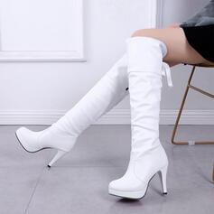 Dámské PU Jehlový podpatek Kozačky nad kolena Kolem špičky S Šněrovací Solid Color obuv
