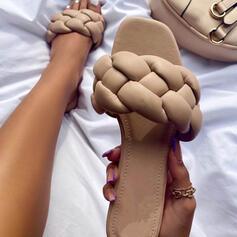 Kvinnor Konstläder Flat Heel Peep Toe Tofflor med Flätad rem Solid färg skor