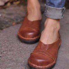 Dámské PU Placatý podpatek Boty Bez Podpatku S Solid Color obuv