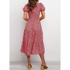 Print Short Sleeves/Puff Sleeves A-line Skater Casual/Elegant Midi Dresses