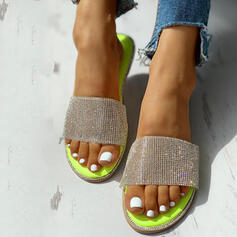 De mujer PVC Tacón plano Pantuflas con Rhinestone Lentejuelas zapatos
