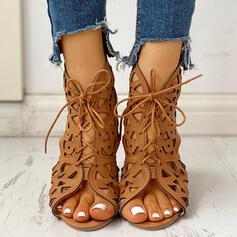 De mujer PU Tacón bajo con Agujereado zapatos