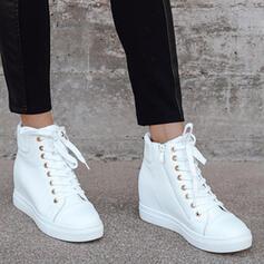 De mujer PU Tacón plano Cuñas Botas Cima mas alta Botas de invierno con Cordones Color sólido zapatos