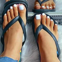 De mujer PVC Tacón plano Sandalias con Flor zapatos