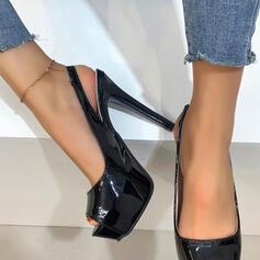 Kvinnor PU Stilettklack Pumps Plattform Peep Toe Klackar med Ihåliga ut Solid färg skor