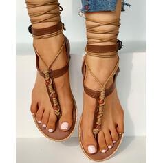 De mujer PU Tacón plano Sandalias Encaje con Cordones zapatos