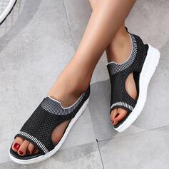 De mujer Tejido Tipo de tacón Sandalias Cuñas Encaje con Agujereado zapatos