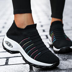 Femmes Flying Weave Talon plat Plateforme Chaussures plates Low Top Tennis avec Élastique Stripe chaussures