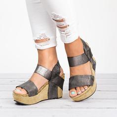 De mujer PU Tipo de tacón Sandalias Cuñas con Estampado de animales zapatos