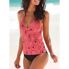 Dot Print Halter Sexy Boho Tankinis Swimsuits