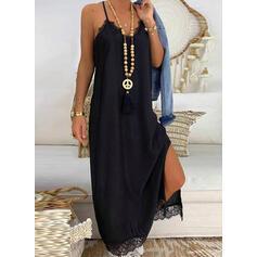 Encaje/Sólido Sin mangas Tendencia Camisón Pequeños Negros/Casual/Vacaciones Maxi Vestidos