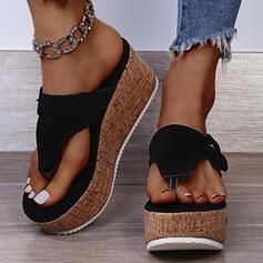 De mujer Ante Tipo de tacón Sandalias Cuñas Pantuflas con Velcro zapatos