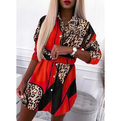 Tisk/Leopard Dlouhé rukávy Pouzdrové Nad kolena Neformální Košile Šaty