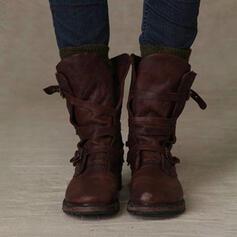 Vrouwen PU Low Heel Half-Kuit Laarzen met Gesp schoenen