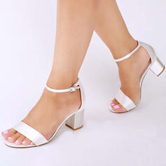 Women's Satin Chunky Heel Sandals Pumps With Buckle shoes