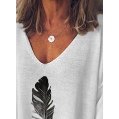 Print V-Neck Casual T-shirt