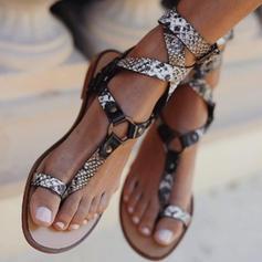 PU Flat Heel Sandaler Platta Skor / Fritidsskor Peep Toe Tå ring med Spänne skor