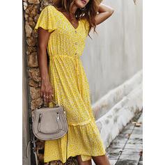 Nadrukowana/Kwiatowy Krótkie rękawy W kształcie litery A Łyżwiaż Casual/Wakacyjna Midi Sukienki