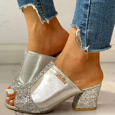 De mujer PU Tacón ancho Sandalias Encaje Pantuflas con Lentejuelas zapatos
