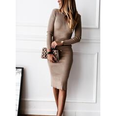 Pevný/Bez podpěry Dlouhé rukávy Přiléhavé Délka ke kolenům Malé černé/Sexy Svetr Šaty