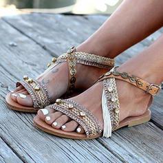 Mulheres Couro Tecido Sem salto Sandálias com Outros sapatos