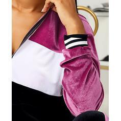 Capucha Manga Larga Bloque de color De moda Conjuntos de top y pantalones