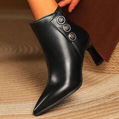 婦人向け PU チャンクヒール ポンプ ブーツ かかと とともに ジッパー ボタン ソリッドカラー 靴