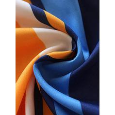 Barevný blok/Pruhované Dlouhé rukávy Áčkové Neformální/Dovolená Midi Rochii