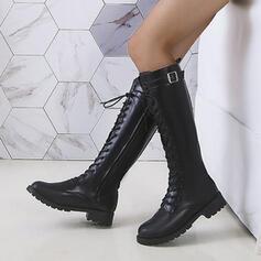Dámské PU Široký podpatek Kozačky nad kolena Martin boty Kolem špičky S Přezka Šněrovací obuv