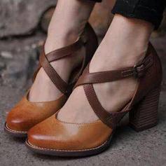 De mujer Cuero Tacón ancho Salón con Hebilla zapatos