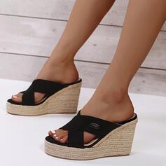 Kvinnor PU Kilklack Sandaler Plattform Kilar Peep Toe Tofflor Klackar med Ihåliga ut skor