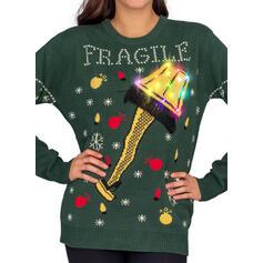 Dámská Polyester Tisk Písmeno Ošklivý vánoční svetr