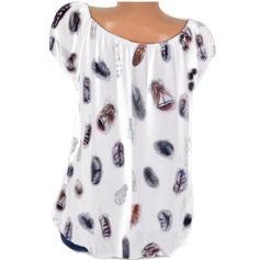 Print V-Neck Short Sleeves Casual Blouses